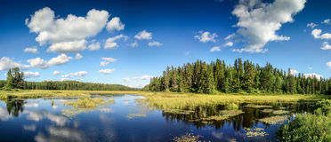 Blue mirror lake reflections of clouds and landscape. Ontario, Canada. Stock Images