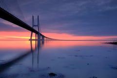 Blue mirror. Vasco da Gama bridge, Lisbon Stock Images
