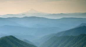 Blue misty view of Silver Mountain Portland Oregon 1 Royalty Free Stock Image