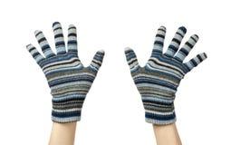 Blue mittens Stock Photos