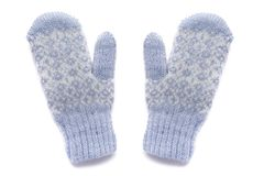 Blue mittens, isolated. Blue mittens with pattern, isolated Stock Photo