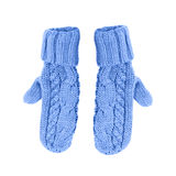 Blue mittens on a white background Royalty Free Stock Photo
