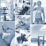 Blue mix. Healthy lifestyle  theme collage composed of different images Royalty Free Stock Image