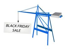 Blue Mobile Crane with Black Friday Billboard Royalty Free Stock Image