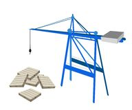 A Blue Mobile Crane with Stack of Wood Pallets Royalty Free Stock Photography