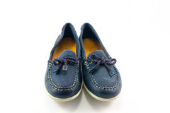 Blue moccasins Stock Images