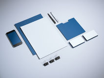 Blue mock up with phone Stock Photography