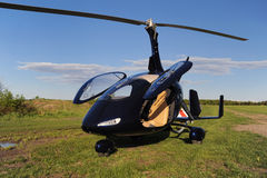 Blue modern autogyro Royalty Free Stock Photography