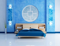 Blue modern bedroom Stock Images