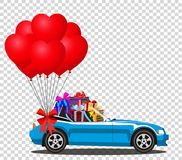 Blue modern cabriolet car with gifts and bunch of red balloons. Blue modern opened cartoon cabriolet car with heap of gifts and bunch of red helium heart shaped Royalty Free Stock Photo