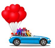 Blue modern cabriolet car with heap of gifts and red  balloons. Blue modern opened cartoon cabriolet car with heap of gifts and bunch of red helium heart shaped Stock Photography