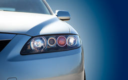 Blue modern car closeup Royalty Free Stock Photography