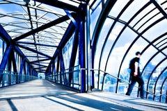 Blue modern corridor Stock Photos