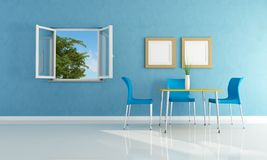 Blue  modern dining room. With open windows- rendering Stock Images