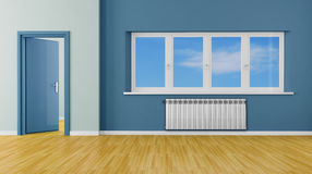 Blue  modern empty room Stock Image