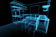 Blue modern futuristic kitchen Stock Image