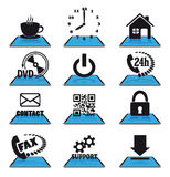 Blue modern icons Royalty Free Stock Images