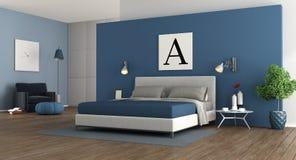 Blue modern master bedroom Stock Photography
