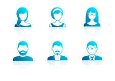 Blue modern men and women icons Stock Photo