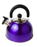 Blue modern metal teapot Stock Images