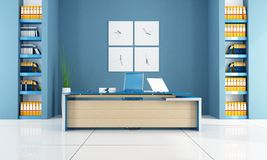Blue modern office space Stock Photos