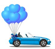 Blue modern opened cabriolet car with bunch heart  balloons. Blue modern opened cartoon cabriolet car with bunch of blue helium heart shaped balloons with Royalty Free Stock Images