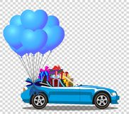 Blue modern opened cartoon cabriolet car with gifts. Blue modern opened cartoon cabriolet car with heap of gifts and bunch of blue helium heart shaped balloons Stock Image