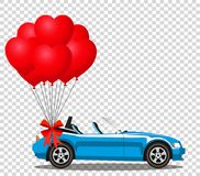 Blue modern opened cartoon cabriolet car with heart balloons. Blue modern opened cartoon cabriolet car with bunch of red helium heart shaped balloons with Royalty Free Stock Photos