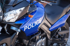 Blue modern police motorcycle Royalty Free Stock Photos