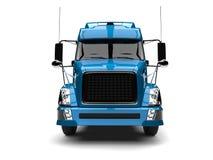 Blue modern semi trailer truck - front view vector illustration