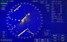 Blue modern ship radar screen. With round map and standard text labels stock image