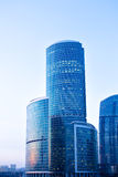 Blue modern skyscrapers in business centre Royalty Free Stock Images