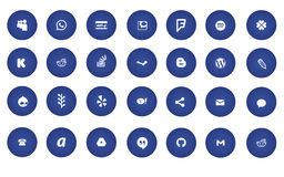 Blue modern social media icons Stock Photography