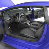 Blue modern supercar interior isolated on white. Doors opened. 3D Illustration Stock Images