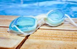 Blue modern Swim goggles Royalty Free Stock Photo