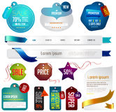 Blue modern tags, labels, and headers design with  Royalty Free Stock Photography