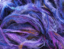 Blue mohair yarn stock image