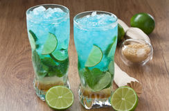 Blue mojito cocktail Royalty Free Stock Images