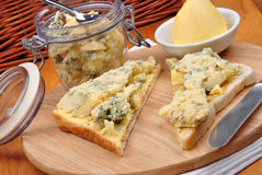 blue mold cheese on toast bread Royalty Free Stock Photo