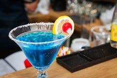 Blue molecular drink. Blue molecular cocktail close up Stock Photo