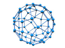 Blue molecule. With blue atoms over white background (see more in my portfolio Stock Photos