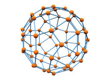 Blue molecule with orange atoms vector illustration