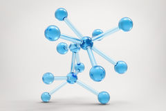 Blue molecule structure. 3d rendering blue molecule structure on grey background Royalty Free Stock Photos