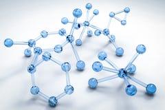 Blue molecule structure. 3d rendering blue molecule structure on grey background Stock Photo