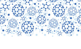 Blue molecules texture horizontal seamless pattern Stock Photo