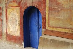 Blue monastery church door Royalty Free Stock Images