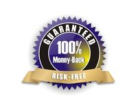 Blue money-back guarantee. Cool blue gold badge - 100% money-back risk-free Stock Illustration