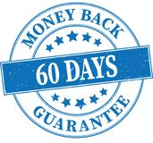 Blue money back gurantee 60 days grungy round rubber stamp illus. Old retro rubber stamp on white background Royalty Free Stock Photo