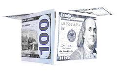 Blue money shack, dollar cabin, currency hutch, banknote house Royalty Free Stock Photo