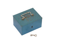 Blue moneybox isolated. On a white background Royalty Free Stock Photography